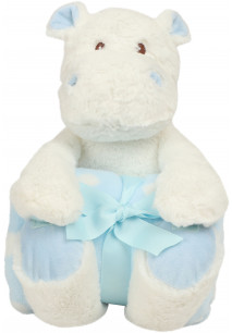 WHITE HIPPO WITH PRINTED FLEECE BLANKET