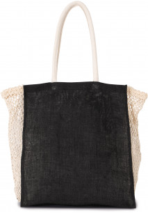 Shopping bag with mesh gusset