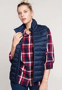 Ladies' lightweight sleeveless fake down jacket
