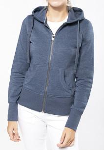 Ladies' melange full zip hooded sweatshirt