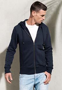 Men's organic full zip hooded sweatshirt