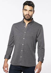 Long-sleevedJacquard knit shirt