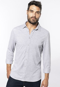 Long-sleevedpiqué knit shirt