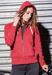 Ladies' vintage zipped hooded sweatshirt