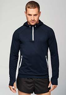 Zip neck hooded sports sweatshirt