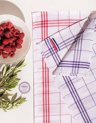 "Checked glass towel - ""Origine France Garantie"""