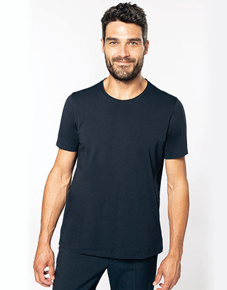 Men's short-sleeved organic t-shirt with raw edge neckline