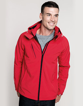 Men's detachable hooded softshell jacket