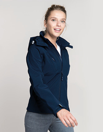 Ladies' detachable hooded softshell jacket