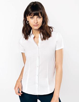 Ladies' short-sleeved cotton/elastane shirt