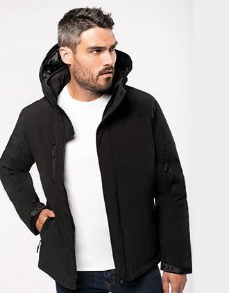 Men's hooded softshell lined parka