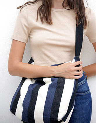 Recycled shoulder bag - Striped pattern