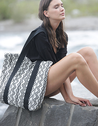 Recycled shopping bag - Wavy pattern