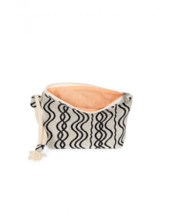 Recycled zipped pouch - Wavy pattern