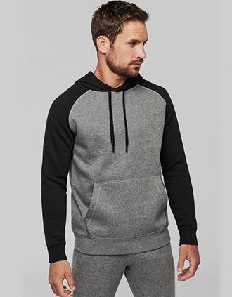 Adult two-tone hooded sweatshirt