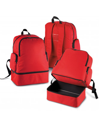 Team sports backpack with rigid bottom
